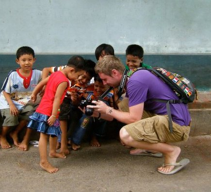 Johnny Ward in Burma with kids