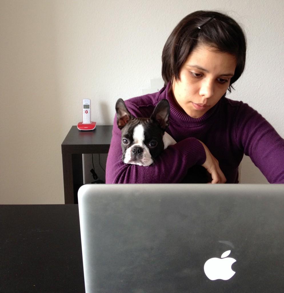 Gisele & her dog Bruce working away,