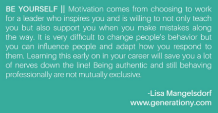 Quote by Generation Y Blog Author Lisa Mangelsdorf